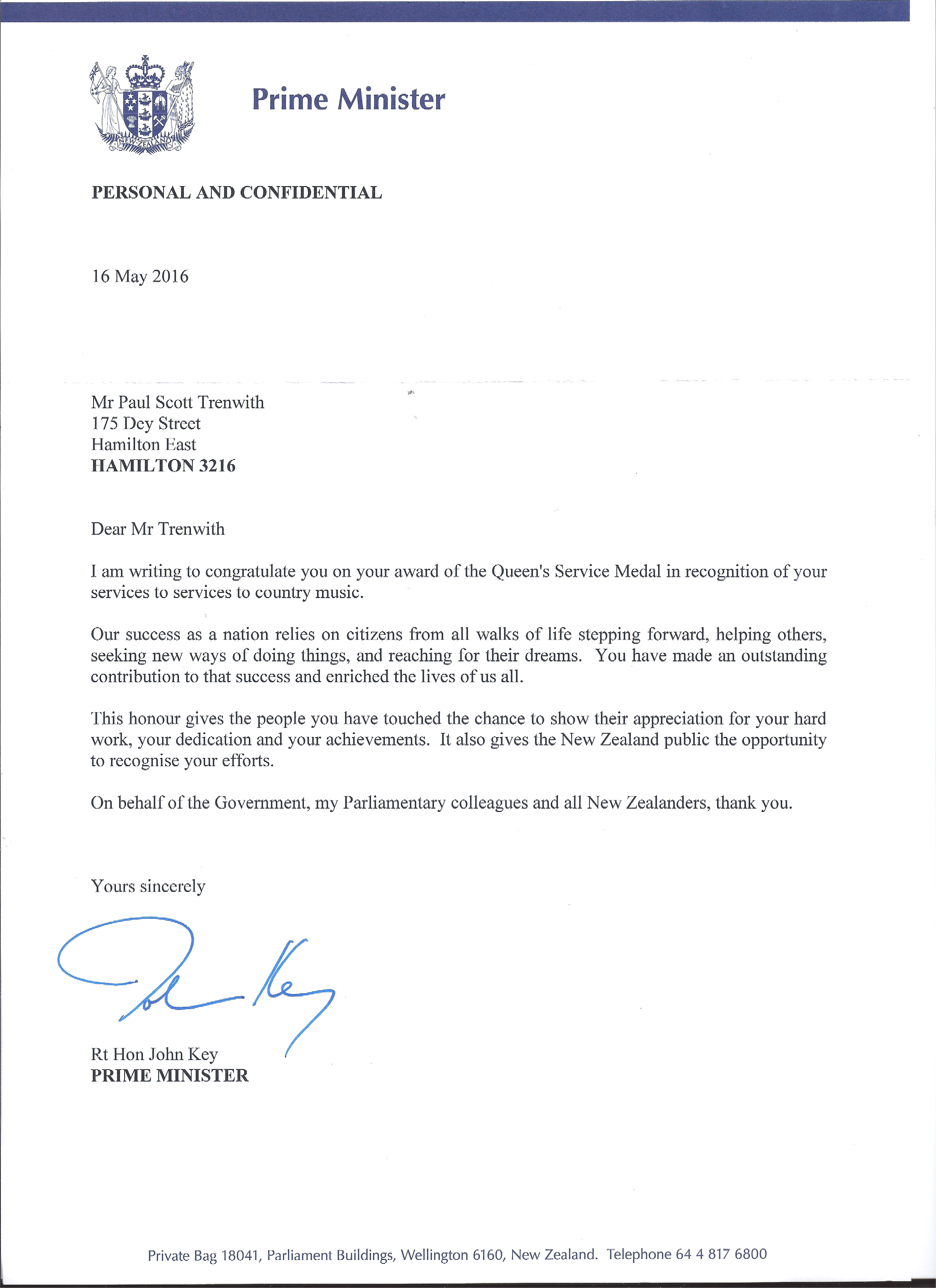 letter from John Key